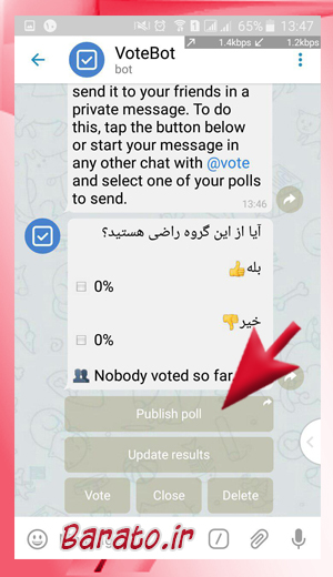 Polls%20in%20robot Telegram7 آموزش تصویری ایجاد نظرسنجی در کانال تلگرام و گروه